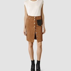 All saints camel suede leather pocket skirt